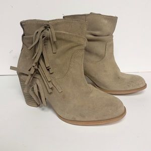 Zara Beige Bootie Heeled Boots with Frill